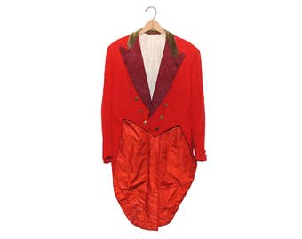 Vintage 1956 Bright Red Norton & Sons Formal English Dress Coat With Tails(OS-JKT-2)