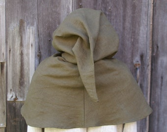 Mens medieval men at arms hooded mantle hood hooded liripipe gray linen -ready to ship-