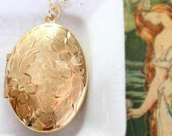 Large Oval Gold Filled Locket Necklace, Feminine Romantic Vintage Pendant - Enduring Love