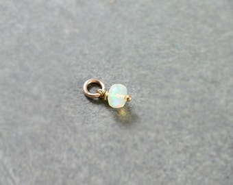 October Birthstone Opal Charm, Tiny 14K Gold Filled Wire Wrapped Faceted Gemstone Stone Accent - Add a Dangle
