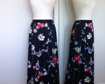 Beautiful Spring Summer Light Weight Artistic Floral Skirt In Black With Multicolored Flowers