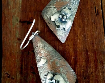 Rustic Jewelry,Mixed Metals,Hammered,Silver and Copper, Recycled silver plated tray