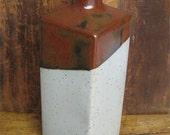 Vintage Takahashi San Francisco Made in Japan Square Two Tone Vase Art Pottery