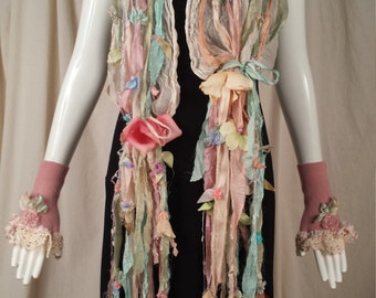 The Marie Antionette Silk Scarf with Hand Painted Silk Ribbons Petals and Leaves Art to Wear Cinderella Style