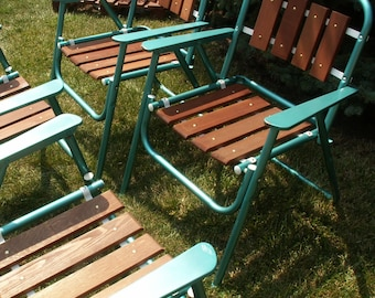 Set of Four Vintage Wood Slat Folding Lawn Chairs Local PICK UP Only