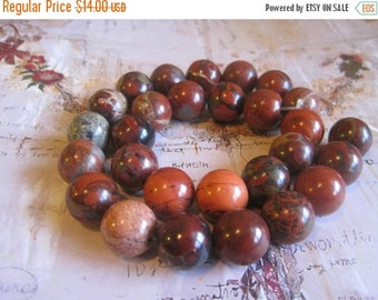"20% OFF ON SALE 16"" long (28 pcs) Red Jasper round 14mm Beads, Gemstone Beads"