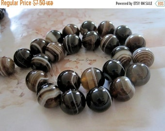 "20% OFF ON SALE Brown Stripe Agate Round 14mm Beads, 8"" long, 14 pcs, Gemstone Beads"