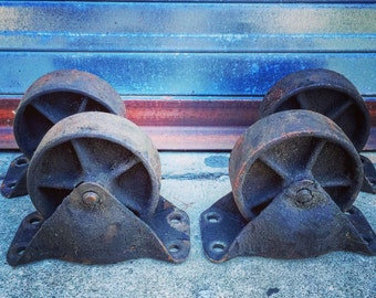 "Cast Iron Wheels / Set of 4 / 5"" Diameter / Base 7"" X 3.5"""" / Height 5.5"""