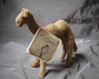 Needle felted camel -  100% alpaca wool - handmade super soft miniature sculpture