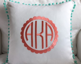 Scalloped Monogram Pom Pom Pillow