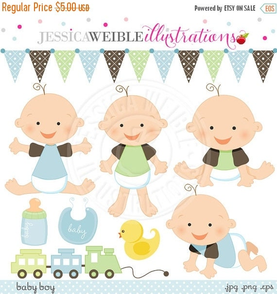 SALE Baby Boy Cute Digital Clipart for Card Design, Scrapbooking, and Web Design, Baby Graphics