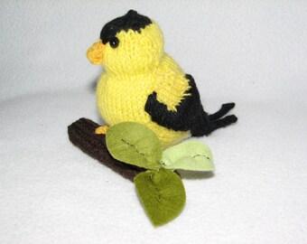 Goldfinch -  Hand Knit Bird - Room Ornament - Black and Yellow Bird