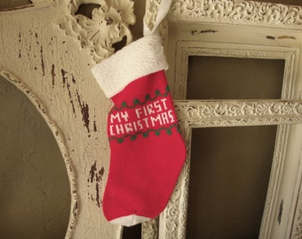 Vintage Christmas stockings For Baby's First Christmas stocking Cottage Chic Christmas gift for baby red white stocking christmas home decor