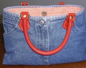 Jean Purse/Handbag Orange Handles