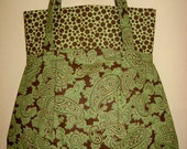 Green and Brown Paisley Frenchy Purse, Shoulder Purse, Medium Purse, Vintage Style