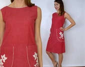 July 4th SALE 60s Red Cotton Shift Dress | Embroidered Sleeveless Dress, Small