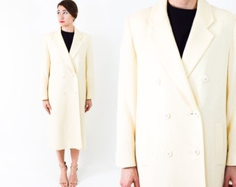 90s Winter White Coat | Ivory Long Wool Coat, Large