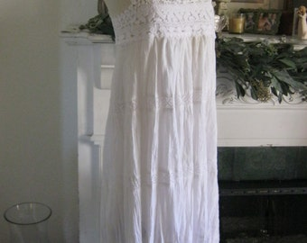 French Sugar Couture - Linen and Lace Collection -  White Cotton Fabric Dress with White Cotton Lace Bodice - Altered Couture