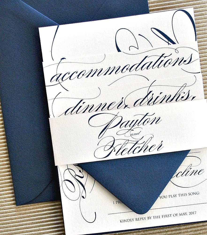 Reese Calligraphy Wedding Invitation Suite With Monogram
