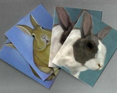 Bunny Cards - 4 Pack Assorted Bunny Note Cards - 2 Designs - Bunny Print - Rabbit Card- 10% Benefits Animal Rescue