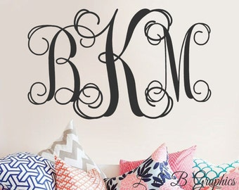 Monogram Wall Decal - Vine Monogram Decal Decor- Wedding Monogram Decal  -Personalized Wall Decal Monogram-Custom Initials