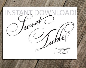 5x7 PRINT @ HOME - Wedding Sweet Table Sign Instant Download