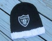 OAKLAND RAIDERS Baby Hat, Knit Baby Hat,Raiders Hat, Raiders Baby Hat, Hand Knitted Baby Hat, Baby Hat, Football Hat, Knitted Baby Hat