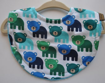 Baby Boy Lime Green, Navy, Aqua Bear Terry Cloth Snap Bib