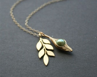 Gold Pea Pod Necklace, PeaPod Leaf Branch Necklace, One Pea in Pod Necklace, Green Peas in Pod Jewelry, Bridesmaids Gift, Gold Filled