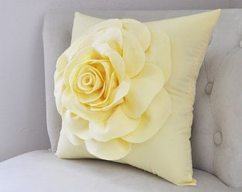 Decorative Pillow - Yellow Pillow Filled Covers - Pale Yellow Pillow Covers - Yellow Flowers - Yellow Cushion Covers - Pastel Yellow Solid