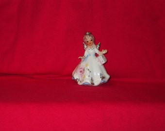 Beautiful Vintage Japan NORCREST Angel Figurine Pastel Flowered Gown