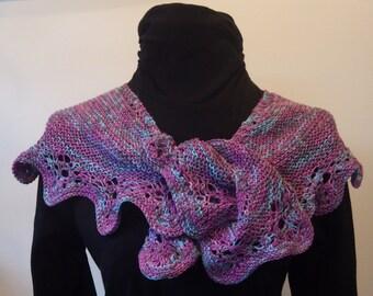 Handknit pink and blue shawl with fingerless gloves in superwash merino