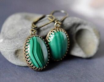 Malachite Earrings Forest Green Necklace Emerald Drops Dark Green Earrings Antique Brass Bezel Gemstone Cabochon Malachite Jewelry Gift