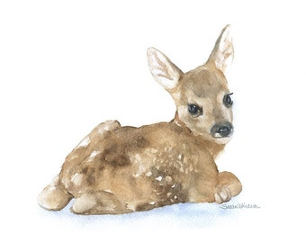 Deer Fawn Lying Down - 20 x 16 - Large Poster Print - Watercolor Painting Reproduction