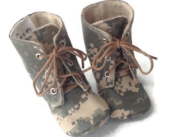 Army Baby Combat Boots | ACU Camo | Newborn size up to 3T | FREE Shipping in the US