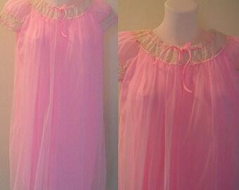 Vintage 1960s Pink Chiffon Short Nightgown, Slumber Suzy, 1960s Nightgown, Vintage Nightgown, Pink Chiffon Nightgown, Chiffon Nightgown