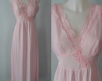 Vintage Nightgown, Vintage Pink Nightgown, 1960s Nightgown, French Maid Lingerie Co, Pink Nightgown, 1960 Lingerie, Nightgown
