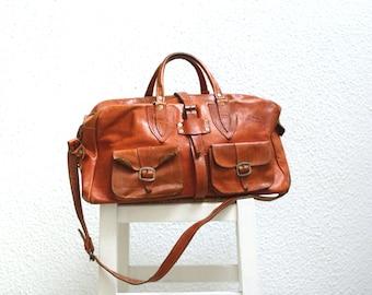 Camel Leather Weekender Bag.