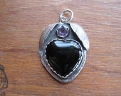 Black Onyx Heart Pendant with Amethyst and Leaves in Sterling Silver by Autopilot Empires. Ready to Ship.