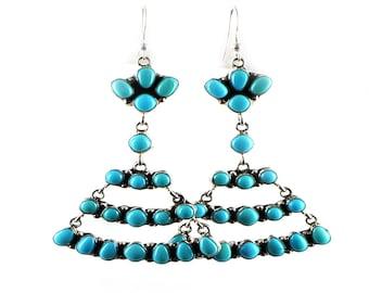 Sleeping Beauty Turquoise Earrings Chandelier 20 Stone