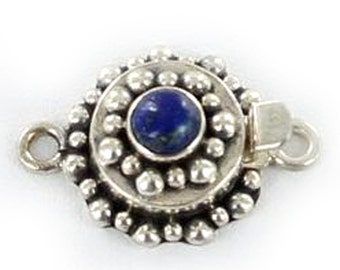 Lapis Clasp Sterling Silver Round 6mm