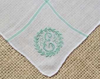 Vintage Monogrammed Hankie Mint Green Initial E Embroidered