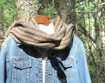 Rustic Winter Mens Scarf, Down to Earth Moss Brown Woodland Country Cabin Menswear Fashion Womens Accessory, Hand Woven Herringbone Stripe