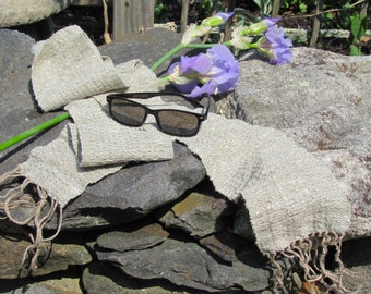 Natural Rustic Mens Womens Wabi Sabi Fashion Scarf, Zen Meditation Scarf, Textured Cactus Sage Green Artisan Hand Woven Linen Cotton Scarf