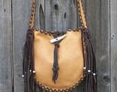 ON SALE Fringed leather tote , Handmade crossbody bag ,  Crossbody shoulder bag , Leather handbag