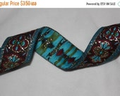 """ON SALE 10% off 2 yards Black Turquoise Brick Red Gold JACQUARD Brocade woven sewing craft ribbon Trim 1.25"""" wide"""
