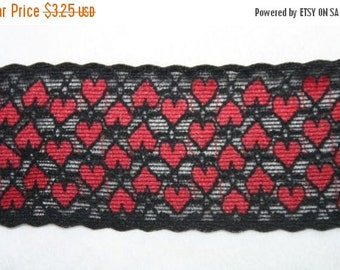 "ON SALE 10% off 2 yards black Red Heart Hearts galloon scalloped stretch lace  2"" wide"