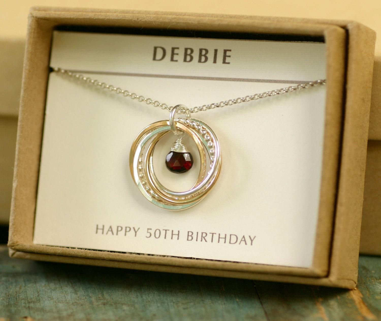 Garnet Necklace For Her 50th Birthday Gift For Bestfriend