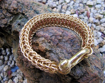 Brass and Copper Chainmaille Bracelet with Shackle Clasp