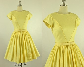 1950's Yellow Party Dress S M Bow Belt